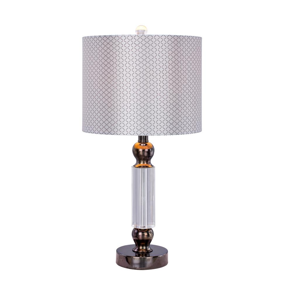 23.75 in. Clear Crystal and Black Chrome Metal Table Lamp with