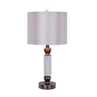 23.75 in. Clear Crystal and Black Chrome Metal Table Lamp with LED Nightlight