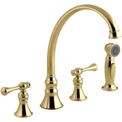 Revival 2-Handle Standard Kitchen Faucet with Side Sprayer in Vibrant Polished Brass