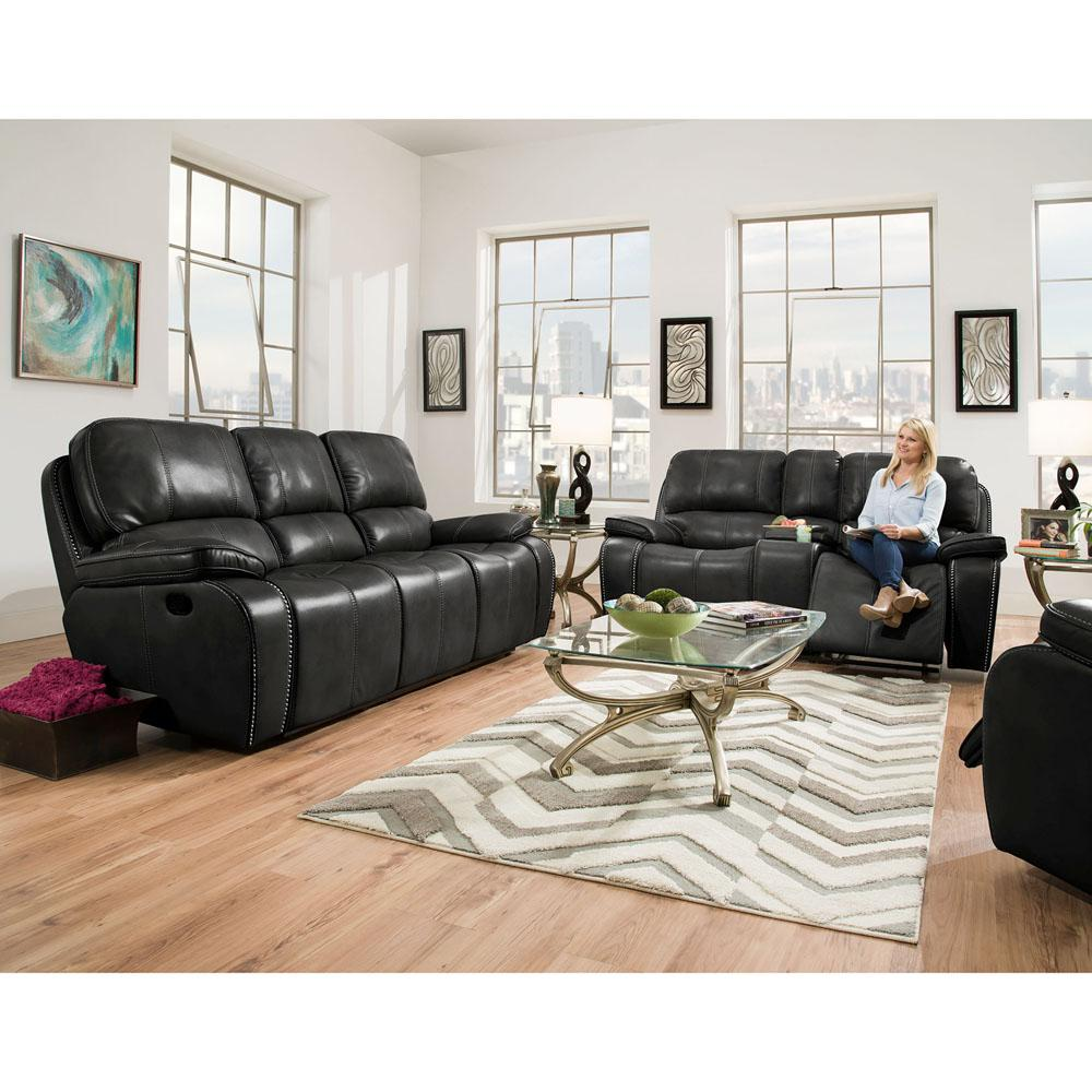 Black Living Room Furniture: Cambridge Alpine 3-Piece Black Sofa, Loveseat, Recliner