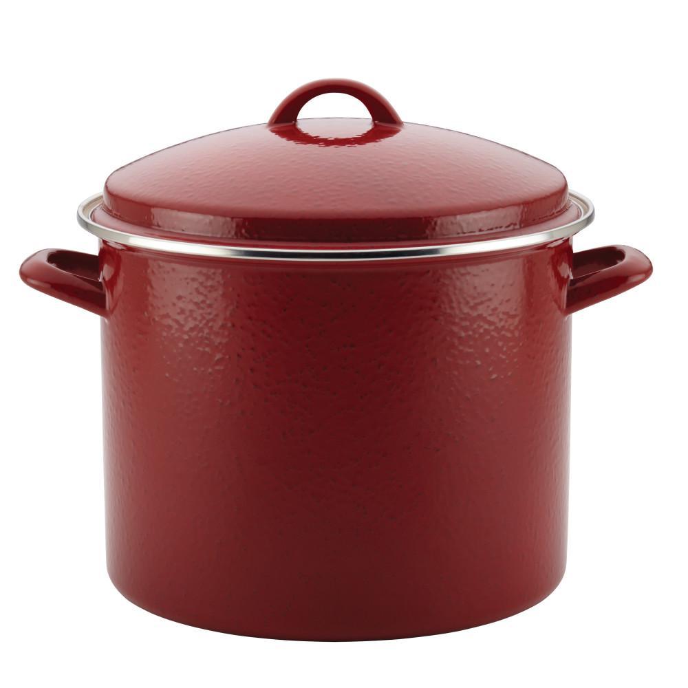 Enamel-On-Steel 12 qt. Steel Stock Pot in Red with Lid