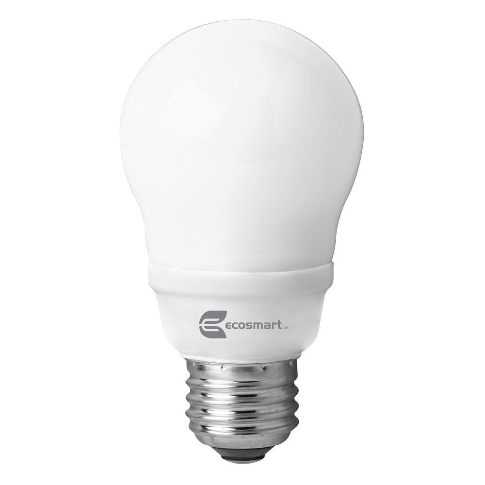 EcoSmart 60W Equivalent Bright White (3500K) A19 CFL Light Bulb (4-Pack)