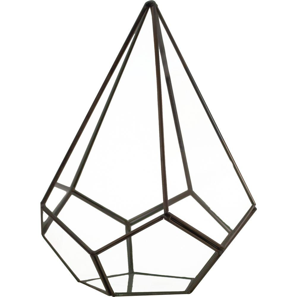 Pride Garden Products Mika 6 in. x 6 in. Glass Faceted Pyramid Terrarium