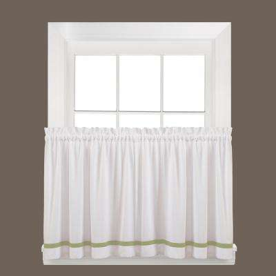 Semi-Opaque Kate 24 in. L Polyester Tier Curtain in Sage (2-Pack)