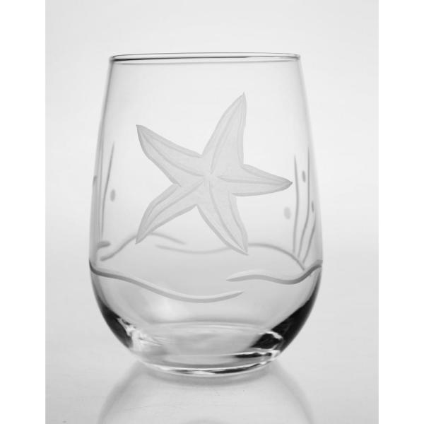 448d5a151fc Rolf Glass Starfish 17 oz. Clear Stemless Wine Tumbler (Set of 4 ...