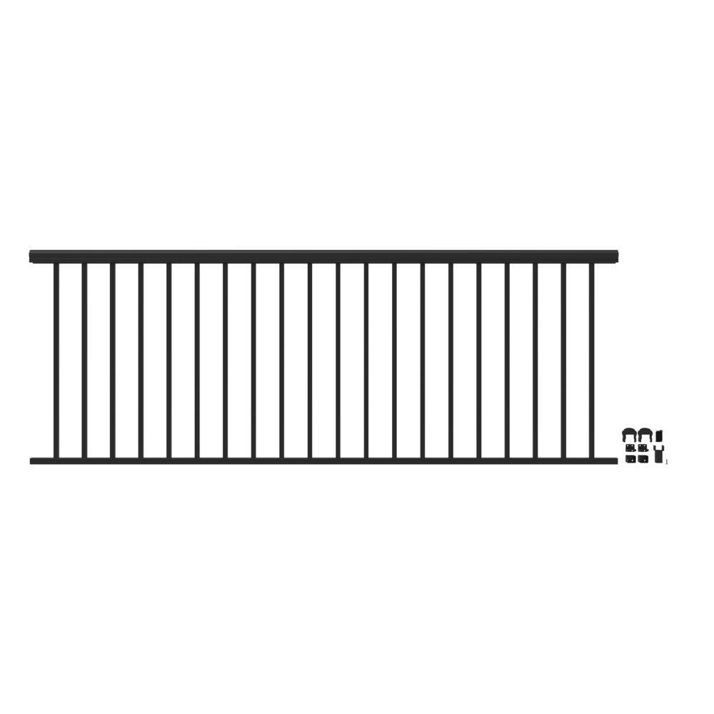 Penrose 8 ft. x 36 in. Matte Black Aluminum Decorative Rail Level Kit