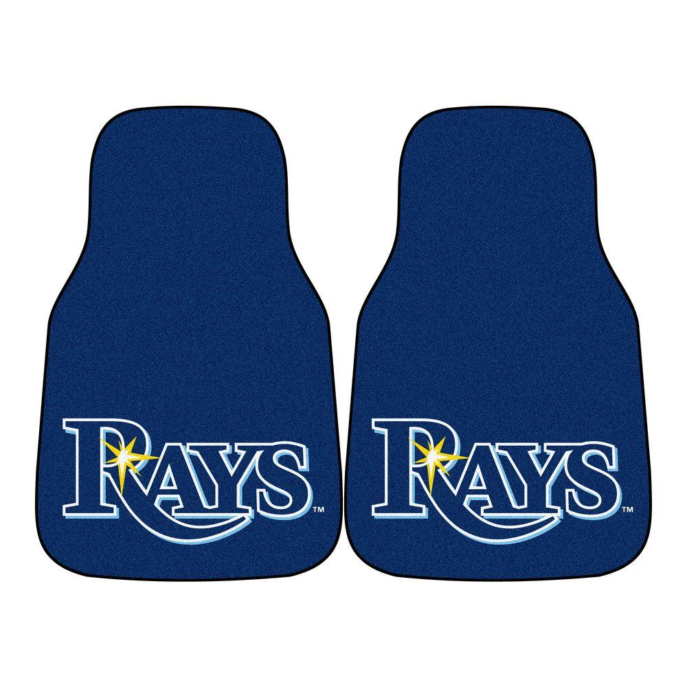 FANMATS Tampa Bay Rays 18 in. x 27 in. 2-Piece Carpeted Car Mat Set