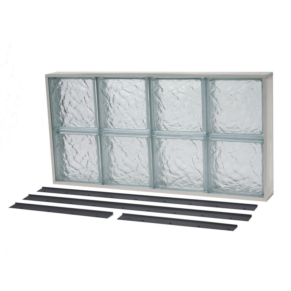 TAFCO WINDOWS 35.375 in. x 19.875 in. NailUp2 Ice Pattern Solid Glass Block Window