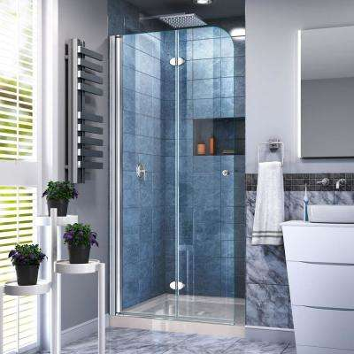 DreamLine Aqua Fold 32 in. D x 32 in. W x 74 3/4 in. H Frameless Bi-Fold Shower Door and Shower Base