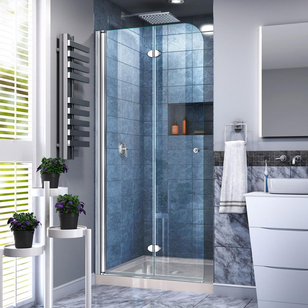 DreamLine Aqua Fold 36 in. W x 74-3/4 in. H Frameless Bi-Fold Shower ...