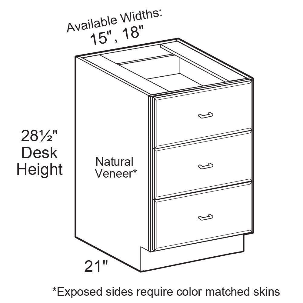 3 Drawers Base Desk Cabinet