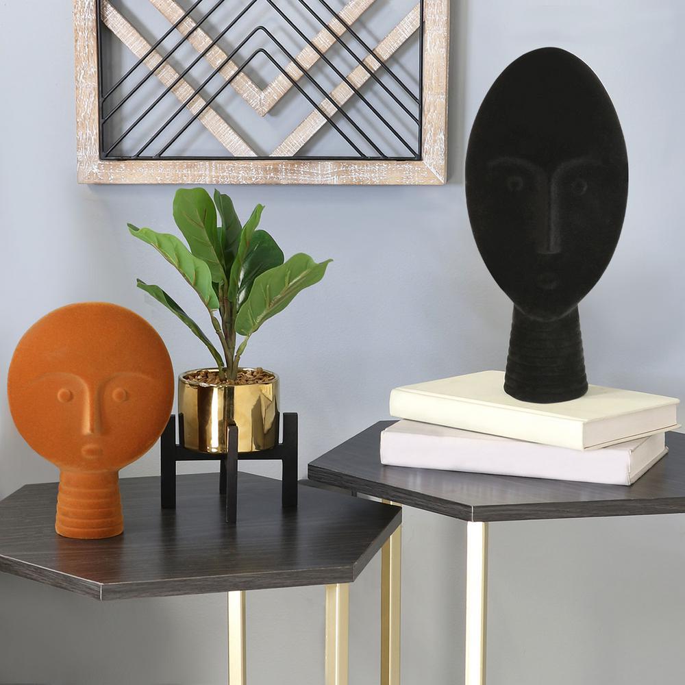 Black Modern Tribal Velvet Mask/Face Shaped Statue
