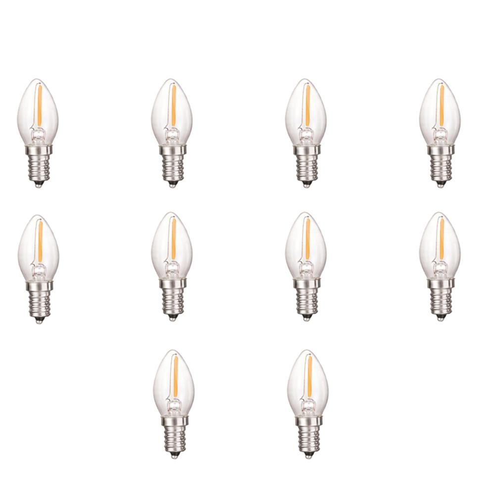C7 Led Bulb >> Triglow 0 5 Watt Equivalent C7 Dimmable Clear Filament Glass Led