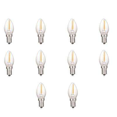 0.5-Watt Equivalent C7 Dimmable Clear Filament Glass LED Night Light Bulb Warm White 2700K (10-Pack)