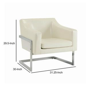 Terrific Modern Off White And Silver Metal Base Accent Chair With Leatherette Upholstery And Sloped Armrest Andrewgaddart Wooden Chair Designs For Living Room Andrewgaddartcom