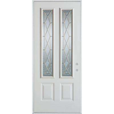 33.375 in. x 82.375 in. Art Deco 2 Lite 2-Panel Painted White Steel Prehung Front Door