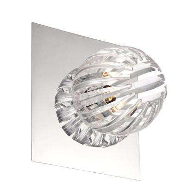 Cosmo Collection 1-Light Chrome and Clear Wall Sconce