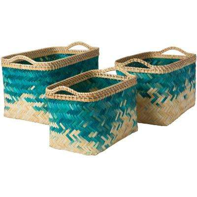 Ivoro Teal Bamboo 12.2 in. x 9.8 in., 15 in. x 10.6 in., 17.7 in. x 11.8 in. 3-Piece Basket Set