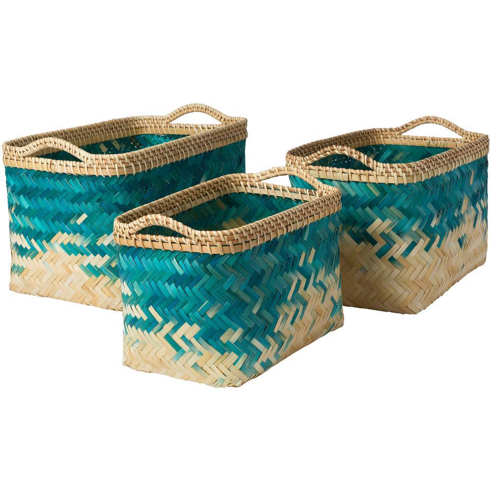 Ivoro Teal Bamboo 12.2 in. x 9.8 in., 15 in. x 10.6 in., 17.7 in. x 11.8 in. 3-Piece Basket Set