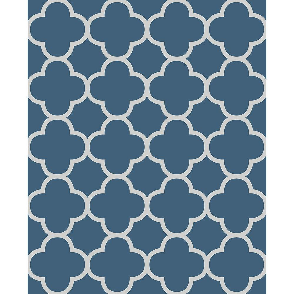 Origin Blue Quatrefoil Wallpaper Sample