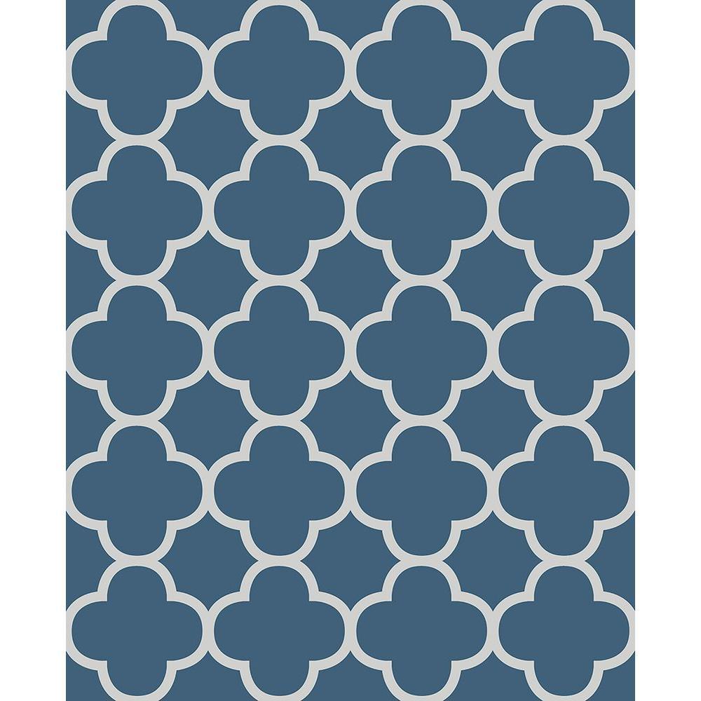 Origin Blue Quatrefoil Wallpaper Sample