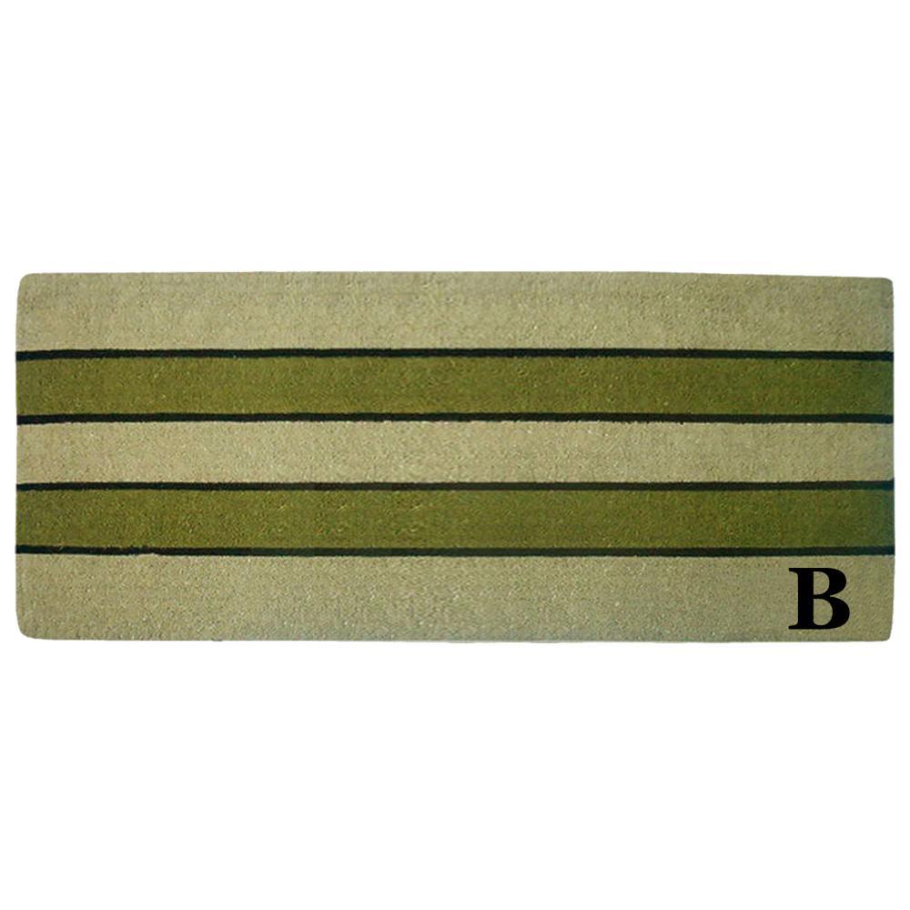Pistachio 24 in. x 57 in. Heavy Duty Coir Monogrammed B Door Mat