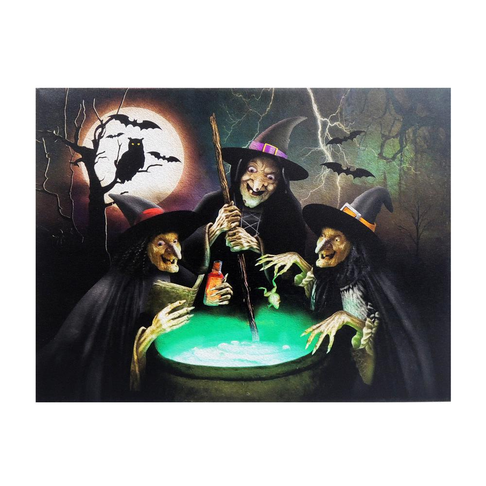 Home Accents Holiday 15 in. x 20 in. Halloween 3-Witches LED Canvas with Sound