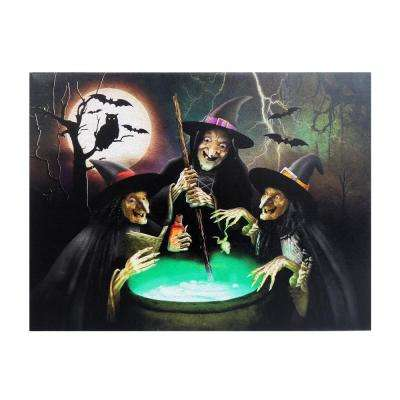15 in. x 20 in. Halloween 3-Witches LED Canvas with Sound
