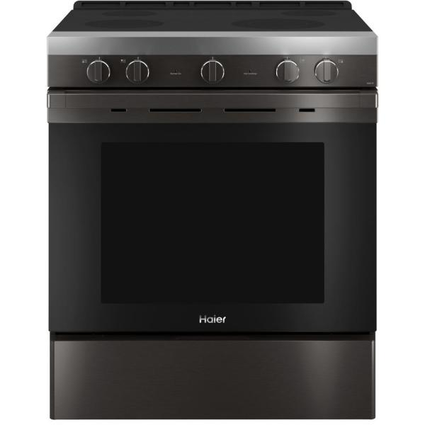 5.7 cu. ft. Smart Slide-in Electric Range with Self Cleaning Convection in Black Stainless Steel, Fingerprint Resistant