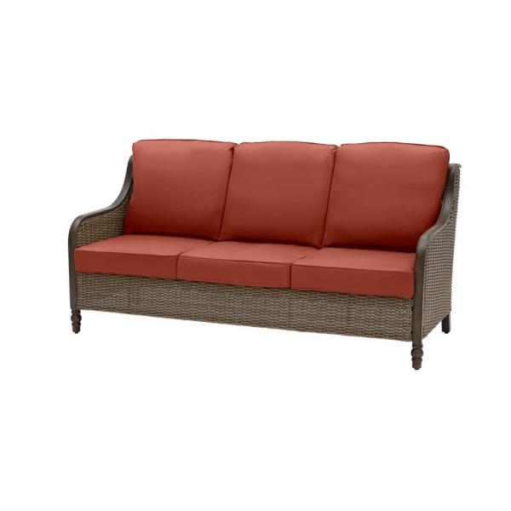 Windsor Brown Wicker Outdoor Patio Sofa with Sunbrella Henna Red Cushions
