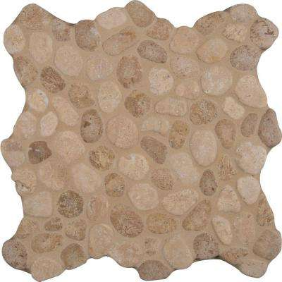 Travertine Blend River Rock 12 in. x 12 in. x 10 mm Tumbled Marble Mesh-Mounted Mosaic Tile (10 sq. ft. / case)