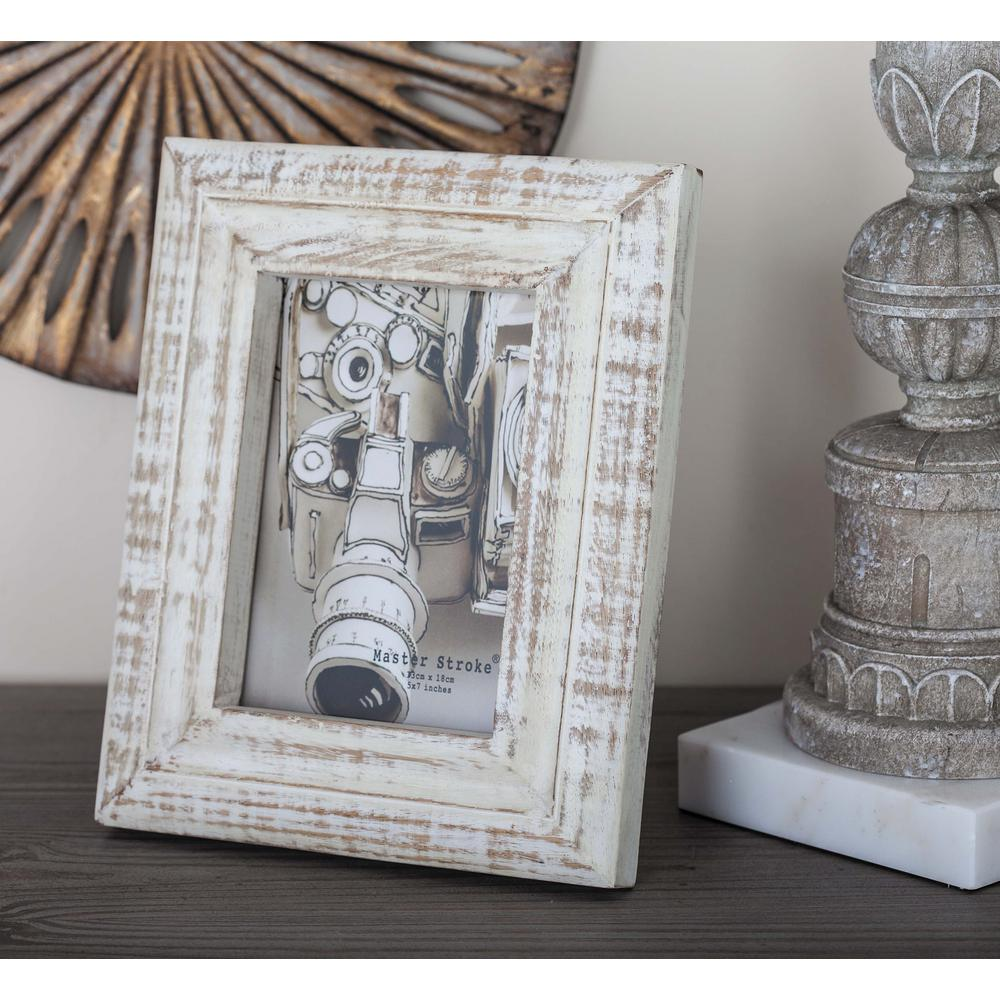 1-Opening 5 in. x 7 in. White Wooden Picture Frame-79057 - The Home ...