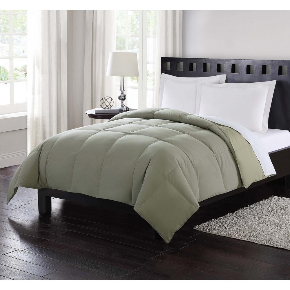 Down Reversible Green Twin Comforter