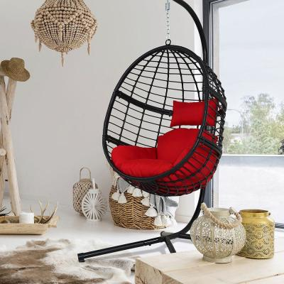 78 in. Black Steel Stand Wicker Outdoor Basket Swing Chair with Red Cushion