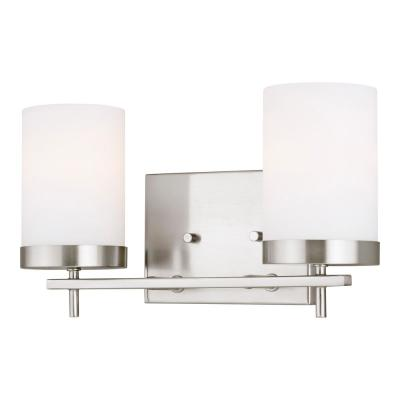 Zire 14 in. W 2-Light Brushed Nickel Vanity Light with Etched White Glass Shades