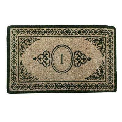 A1HC First Impression Decorative Border Green Filigree 22 in. x 36 in. Extra Thick Coir Monogrammed I Door Mat