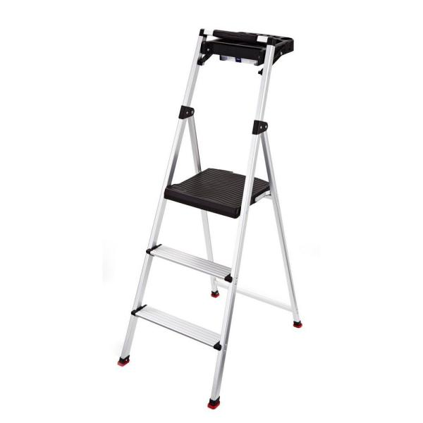 3-Step Aluminum Step Stool with Project Tray 225 lb. Load Capacity Type II Duty Rating