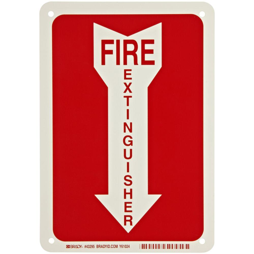 Brady 10 in. x 14 in. Fire Extinguisher Sign with Picto, White Fire and Emergency Evacuation signs help direct employees to safe areas during emergencies. Fire-fighting equipment, exit route maps, critical shutdown procedures, valves or switches and exit routes should all be clearly discernable for emergency access. Color: White.