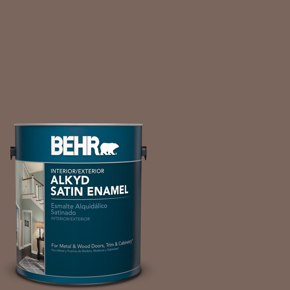 1 gal. #AE-5 Chocolate Brown Satin Enamel Alkyd Interior/Exterior Paint