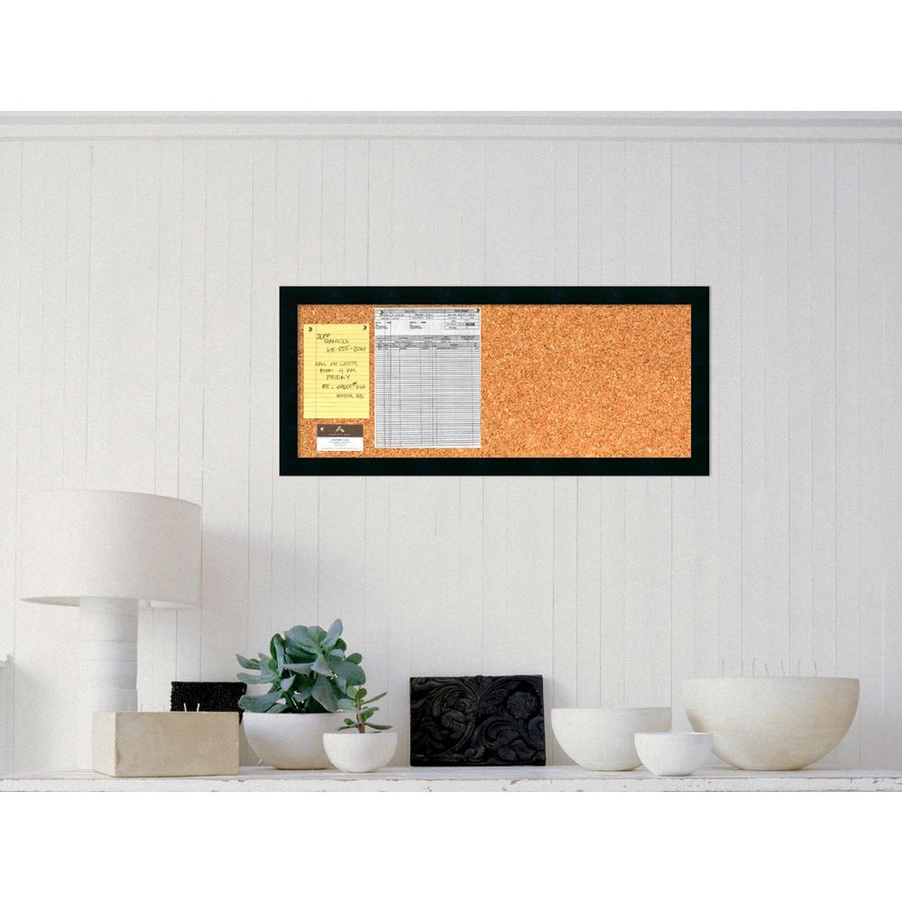 Mezzanotte Satin Black Gallery Wood 14.25 in. H x 32.25 in. W Framed Cork Board