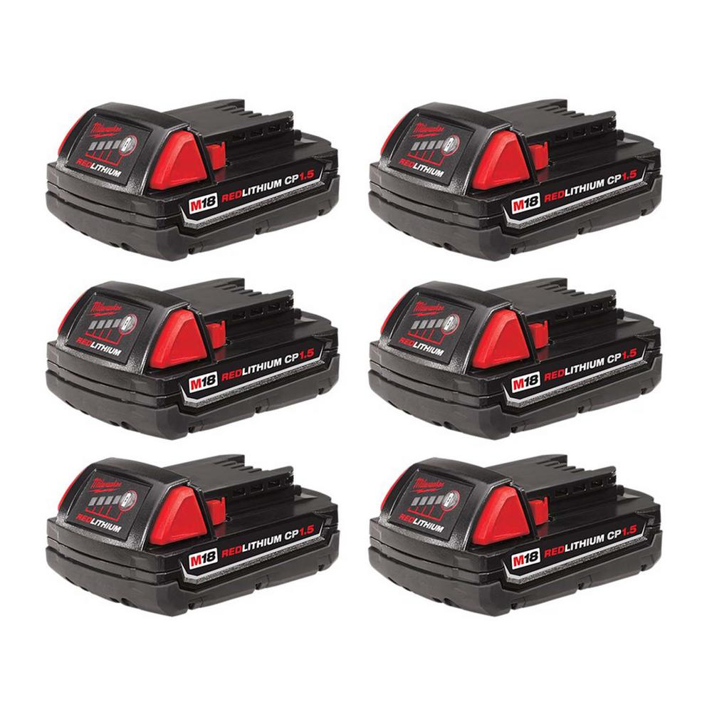 Milwaukee M18 18-Volt Lithium-Ion Compact Battery Pack 1.5Ah (6-Pack)