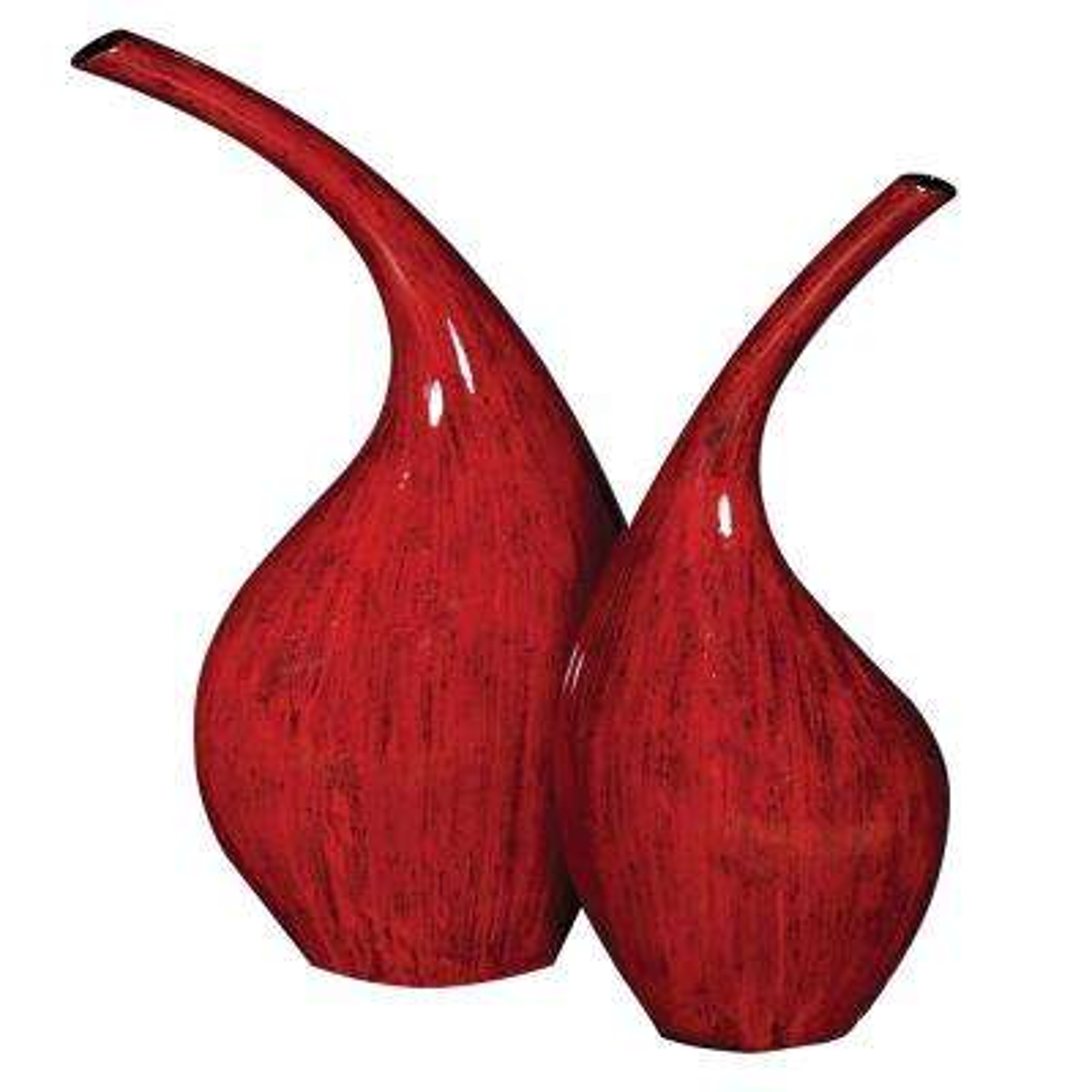 Scarlet Red Ceramic Decorative Vases (Set of 2)