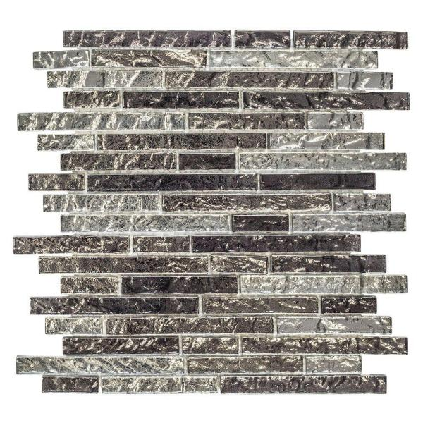 Celestial Grey 12 in. x 11.5 in. x 8 mm Interlocking Glossy Glass Pencil Mosaic Tile