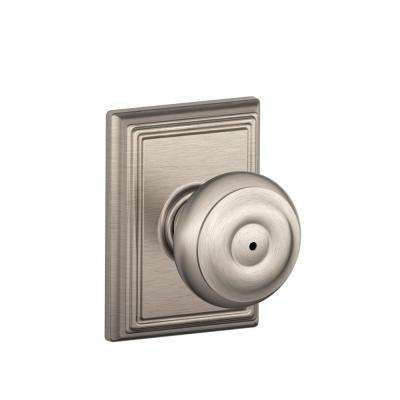 Georgian Satin Nickel Privacy Bed/Bath Door Knob with Addison Trim