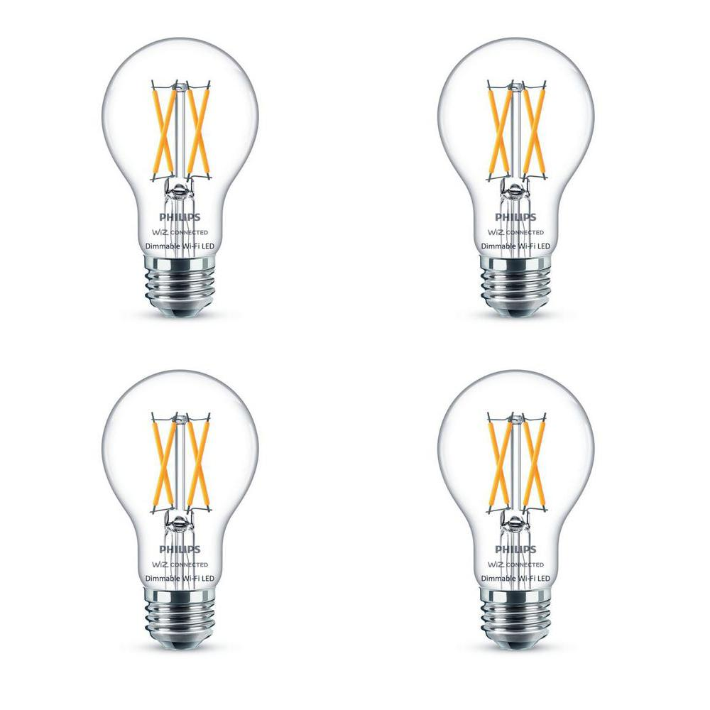 Philips Soft White A19 LED 40-Watt Equivalent Dimmable Smart Wi-Fi Wiz Connected Wireless Light Bulb (4-Pack)