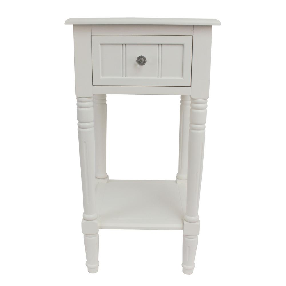 Decor Therapy Simplify White 1-Drawer End Table-FR1748