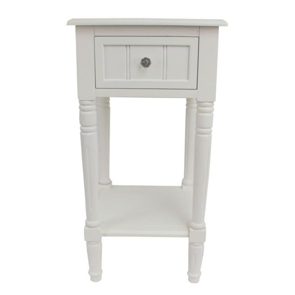 Decor Therapy Simplify White 1 Drawer End Table Fr1748 The Home Depot