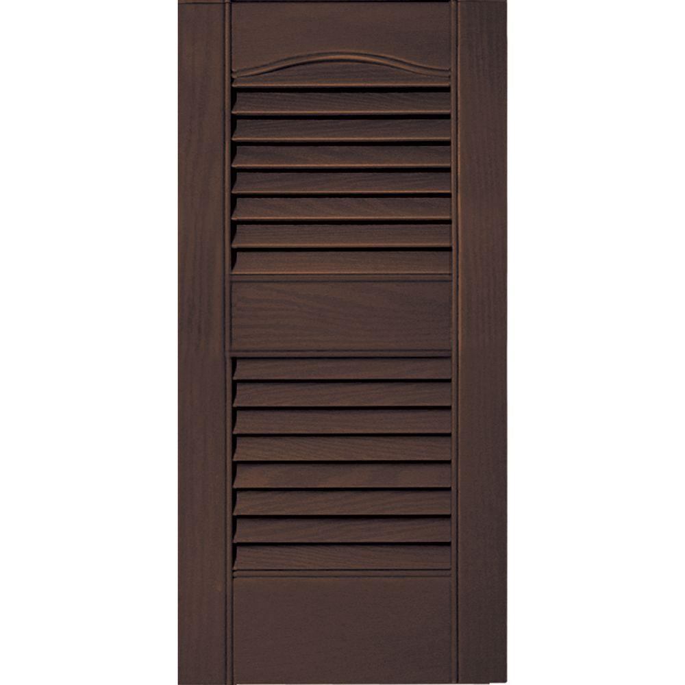 12 in. x 25 in. Louvered Vinyl Exterior Shutters Pair #009