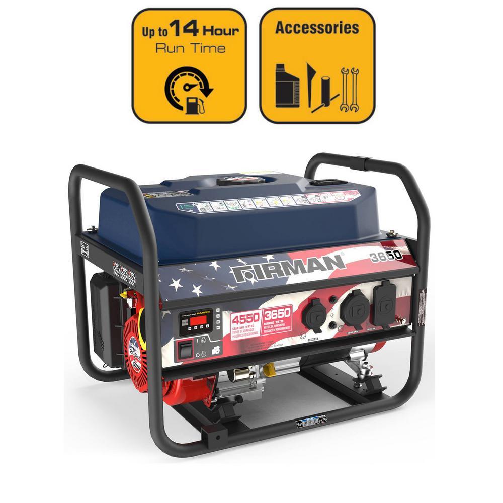 4550 3650 Watt Recoil Start Gas Portable Generator With Stars And Stripes Print