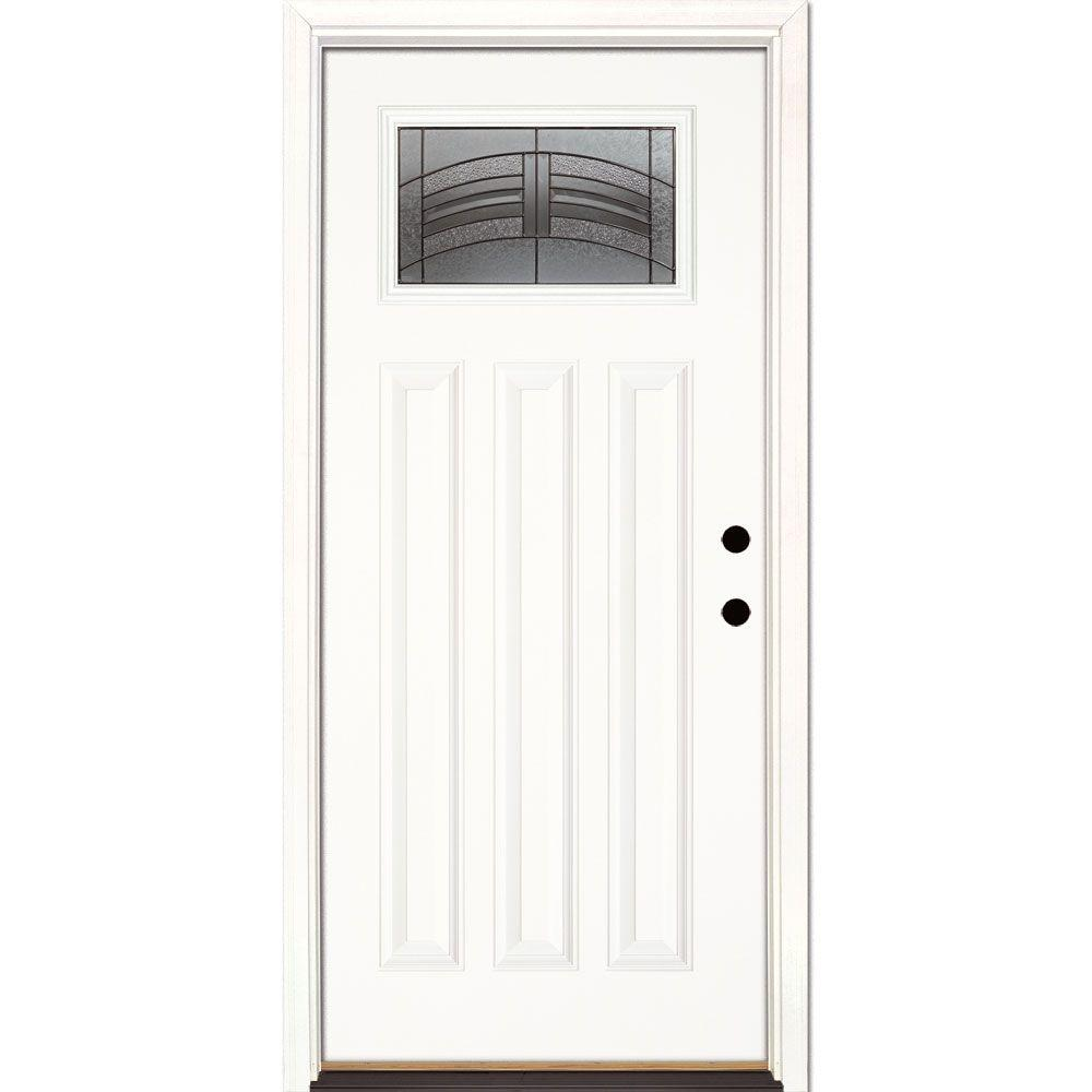 Feather River Doors 33.5 in. x 81.625 in. Rochester Patina Craftsman Unfinished Smooth Left-Hand Inswing Fiberglass Prehung Front Door